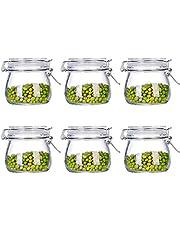 Tebery Vasos con cierre de clip, 6 piezas, capacidad de 500 ml, conservación hermética gracias al anillo de goma y al cierre de alambre.