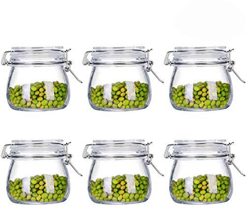 Tebery Gläser mit Bügelverschluss 6 teilig | Füllmenge 500 ml | Luftdichte Konservierung durch den Gummiring sowie den Drahtbügelverschluss
