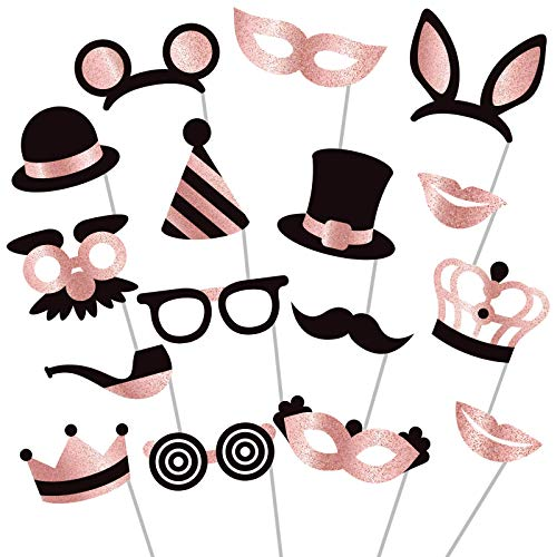 Rose Gold Photo Booth Props - Fully Assembled, No DIY, Glitter Photobooth Props and Masks - Mix of Hats, Lips, Mustaches, Crowns and More (16 pcs) - Perfect for Birthday Parties, Weddings and More