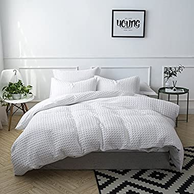 Merryfeel 100% Cotton Waffle Weave Duvet Cover Set - King White