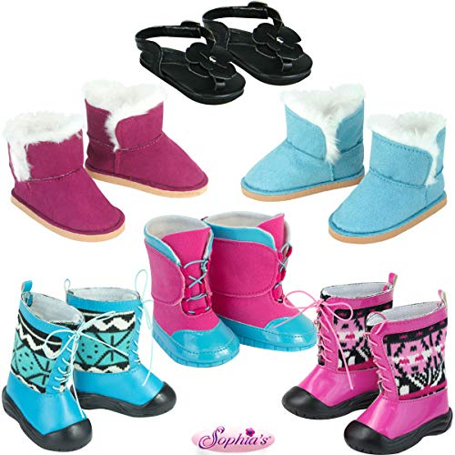 Shoe Set for 18 Inch Dolls   5 Pairs of Winter Boots Plus Black Sandals for Dolls, Beautifully Detailed Doll Shoes