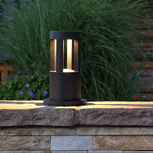 LED-Pollerleuchte 25cm Höhe schwarz | Alu Außenleuchte 10W 450lm | IP65 wasserfest | Leuchte inkl. Warmweissen LED-Leuchtmittel | Sockelleuchte