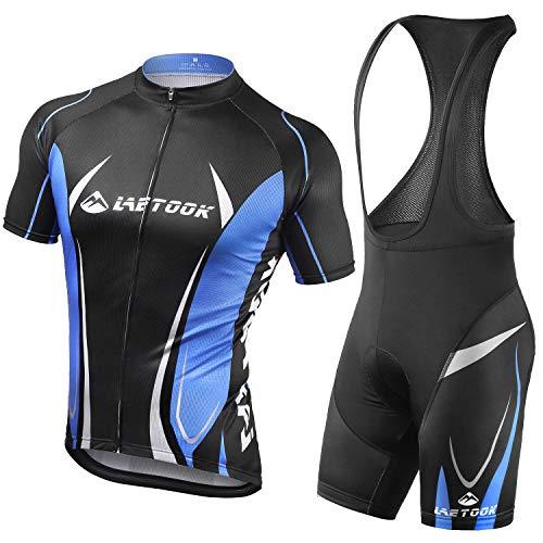 Letook Completo Bici Abbigliamento Ciclismo Set Tuta Ciclismo Estivi Maglia + Salopette Ciclismo Imbottito S