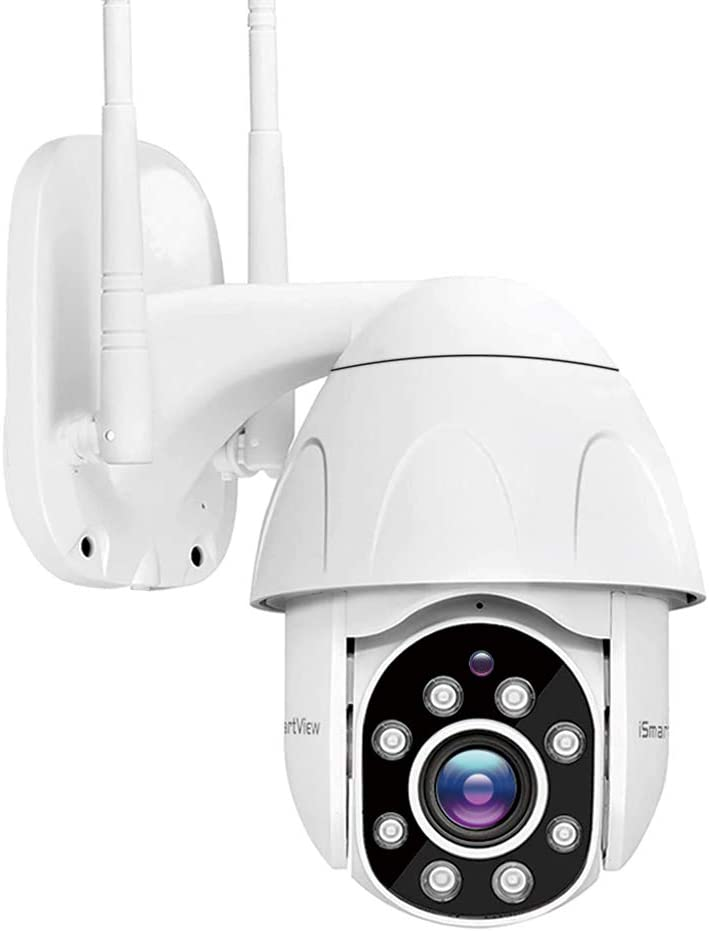 iSmartView Wireless Outdoor PTZ Camera, 1080P 2MP Weatherproof Security IP Camera, Clarity Color Night Vision, Motion Tracking, Surveillance Wireless CCTV, Motion Alarm, Support Max 128GB TF Card