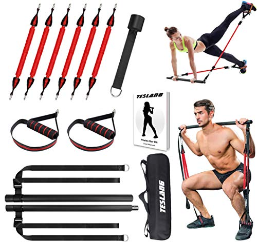 Upgraded 60-180LBS Adjustable Pilates Bar Kit with Resistance Band, Anti-Break, Portable Fitness Exercise Workout Toning Bar Stick for Stretching Twisting Sit-Up, Home Workout Equipment Men Women
