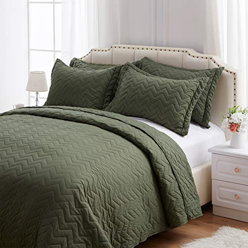 NexHome Quilt Set King White Blue Queen Quilt Set Soft Lightweight Quilted Bedspread for All Season Gray Twin Quilt Set 2/3 Piece Quilt Set with Shams (Olive Green, Full/Queen(9096))
