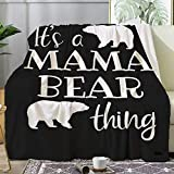 Tuxhhzdda Paw Love Mama Bear Blankets Used for Beds Sofas, Warm and Comfortable Microfiber Flannel Lightweight Blankets (Men, Women) (Black, 50x40Inches)
