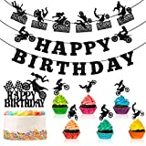 Zonon 20 Pieces Dirt Bike Birthday Party Supplies Banner Cake Cupcake Toppers for Motocross Themed Birthday Party Cake Man's or Boy's Birthday and Riding Party Room Wall Decorations