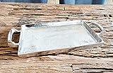 MichaelNoll Tablett Servierbrett Servierplatte Aluminium Silber Griffe Luxus XXL - Serviertablett aus Metall - Silbertablett - 42/65 / 82/112 cm (42 x 20 x 6 cm)
