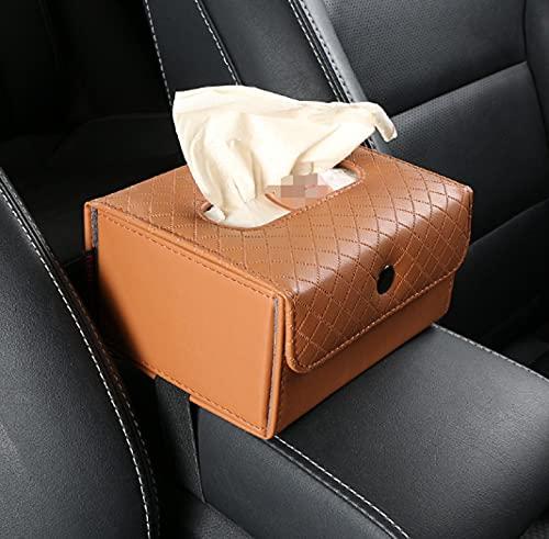 JZLMF Dentro del automóvil, Use Cajas de pañuelos de Almacenamiento de Cuero y reposabrazos creativos para Arreglar Las Cajas de pañuelos Plegables multifuncionales traseras