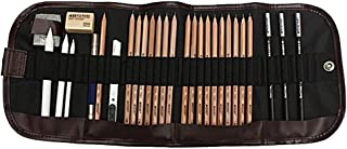 KOBWA Professional Sketch Drawing Kit, 18 Pieces Art Set of Charcoal Sketching Pencils, Erasers, Paper Pens, Pencil Extenter, Craft Knief & Canvas Pouch for Kids Adults Artists Beginners