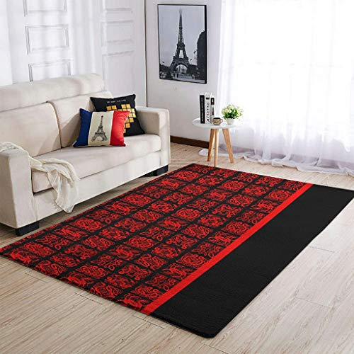 AXGM Alfombra vikinga negra y roja, con tatuaje, impresa, para salón, dormitorio, pasillo, decoración blanca, 50 x 80 cm