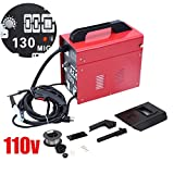 Genuine store MIG-130 Gas Welding Machine, 110v Professional Electric Gas Welding Machine MIG DIY Home Welder with Free Welder Helmet, Welding Gun, Brush (RED)