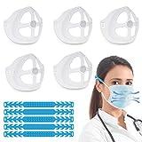 HAUSPROFI - 5 Piezas de 3D Soporte para Máscara de Silicona, Extensores Mascarillas Orejas, Aumenta Más Espacio para Respirar, Juego de Extensión y Soporte para Mascarillas - Transparente y Negro