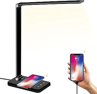 Lampe de Bureau LED avec Chargeur sans Fil, Port de Chargement USB, 5 Modes Lumière, 10 Niveaux de Luminosité, Réglable La...