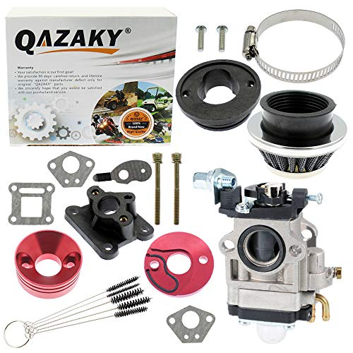 QAZAKY 15mm Carburetor Gasket Air Filter Intake Manifold Pipe Alloy Adapter Stack Kit for 2-stroke Engine 33cc 43cc 47cc 49cc 50cc 52cc Pit Dirt Pocket Mini Bike ATV Scooter Chopper Quad Moped Go Kart