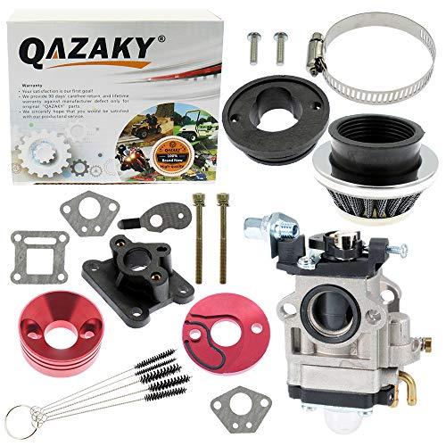 QAZAKY Junta de carburador de 15 mm Filtro de aire Colector de admisión Adaptador de tubo de aleación Kit de pila para motor de 2 tiempos 33cc 43cc 47cc 49cc 50cc 52cc Dirt Mini Bike ATV Quad Moped