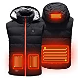 Angelay-Tian Chaleco calefactable para Hombres y Mujeres con Sombrero, Chaleco Calefactor eléctrico con Carga USB para Actividades al Aire Libre en Invierno (Color : A, Size : XX-Large)