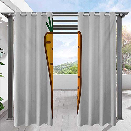 Adorise Outdoor Patio Curtain Carrot Drawing with Doodle Simplistic Vegetable Design Home Fashion Window Panel Drapes Protect You from Sun/Rain Orange Dark Orange Emerald W120 x L108 Inch