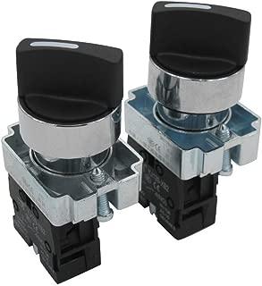 FTVOGUE 22Mm Cierre Redondo Selector Giratorio Bot/óN Interruptor Manija Corta Encendido//Apagado 2 Posiciones Interruptor Selector Mantenido La38-11X2