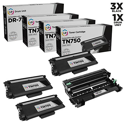 LD Compatible Toner Cartridge & Drum Unit Replacements for Brother TN750 High Yield & DR720 (3 Toners, 1 Drum, 4-Pack)