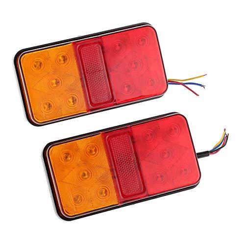Justech 2PCS Luces Traseras del Remolque Luces de Freno Traseras LED Lámpara de Marcha Atrás 12V Impermeable Universal para Camión Remolque Caravana Tractor