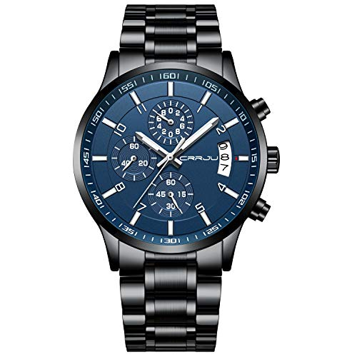CRRJU Relógio de pulso masculino multifuncional com cronógrafo de seis pinos, pulseira de aço Stainsteel à prova d'água, black blue