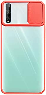 Huawei Y8P 2020 Case Camera Silicone Case With Camera Protector - Clear & Red