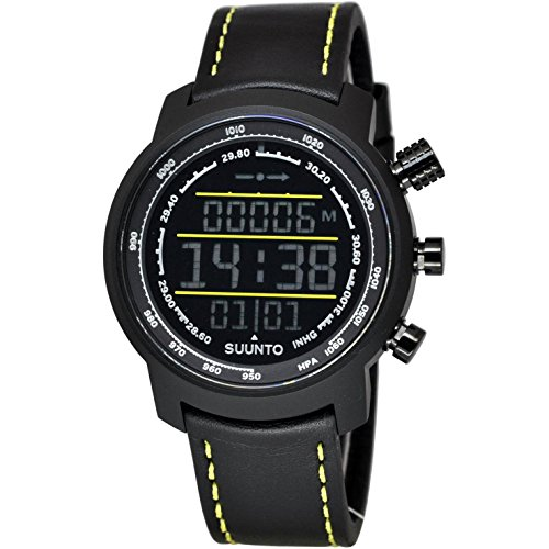 Suunto Elementum Terra Black/Yellow Leather Digital Display Quartz Watch, Black Leather Band, Round...