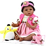Aori Reborn Baby Doll 22 Inch Realistic African American Dolls with Sunny Bird Gift Accessories