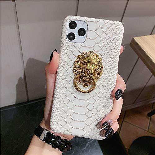 FQSCX Funda para iPhone Cortex- Lion Head PU Funda rígida de Cuero para iPhone 11 Pro MAX 7 6 5s 8 Plus Funda con Soporte para iPhone 12 Pro X XR XS MAX ForiphoneXR Blanco