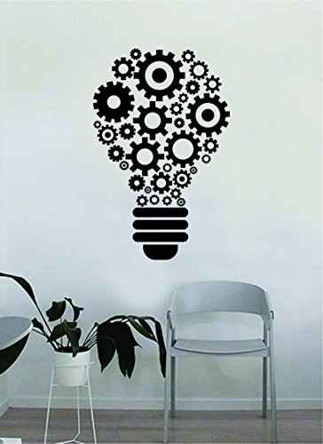 Lightbulb Gears Original Quote Decal Sticker Wall Vinyl Art Home Room Decor Teacher School Classroom Science Work Office Job Smart Idea Mechanical Steampunk