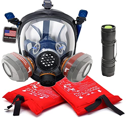 Wildfire Safety Kit - PD-101 Full Face Smoke Respirator, Fire Extinguisher Blanket Set, & S-15 Water Resistant Flashlight - Home & Emergency Use - 2 P-A-3 Activated Carbon Filters…