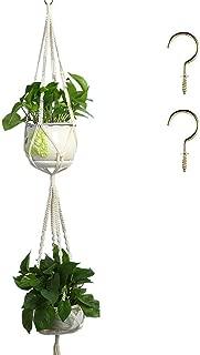 Coobbar 1 pcs Double Layer Macrame Plant Hanger Indoor Wall Hanging Planter Basket Flower Pot Holder for DIY Home Decor (Double Layer)