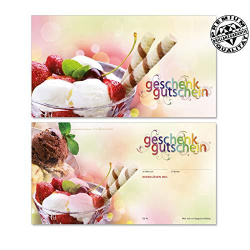 50 Stk. Hochwertige Gutscheinkarten Geschenkgutscheine. Motiv für Eisdiele Eiscafé. Vorderseite hochglänzend. G1236