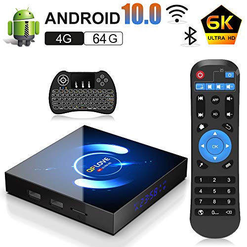 Android TV Box 10.0 mit Minitastatur 【4G+64G】 QPLOVE Q6 Smart TV Box mit Quad-Core H616 BT 5.0 WiFi 2.4G/5G/ 100M LAN, 6K Set Top Box Andorid 10.0 [2020 Neueste]