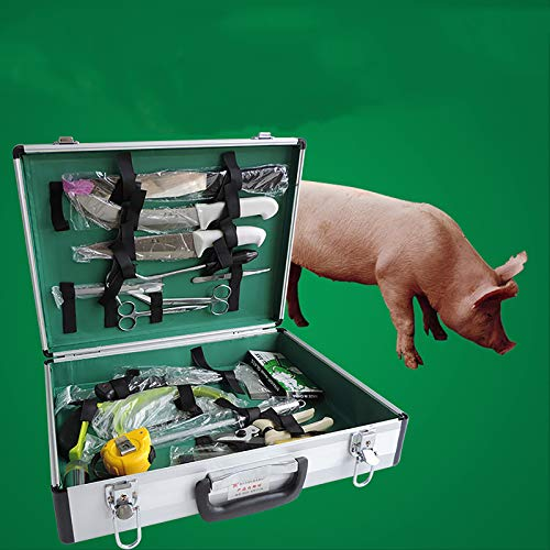 BZZBZZ Kit de disección de Animales Grandes Paquete de Instrumentos quirúrgicos Caja de Almacenamiento de aleación de Aluminio para Cerdo, Vaca, Ganado, Oveja, Caballo