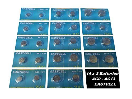 Set AG0-AG13 14 Blistercard a 2 Batterien je AG 0,1,2,3,4,5,6,7,8,9,10,11,12,13 EINWEG EASTCELL