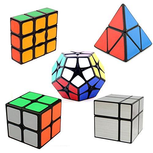 HJXDtech- Paquete mágico de 5 Paquetes del Cubo del Espejo + 2x2 megaminx + 2x2 pyraminx + 1x3x3 + Cubo mágico 2x2x2