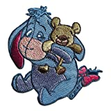 Iron on Patches - Winnie Puuh Donkey I-Aah with Teddy Disney Comic Children - Blue - 7,9x7,5cm - Application Embroided Patch Badges