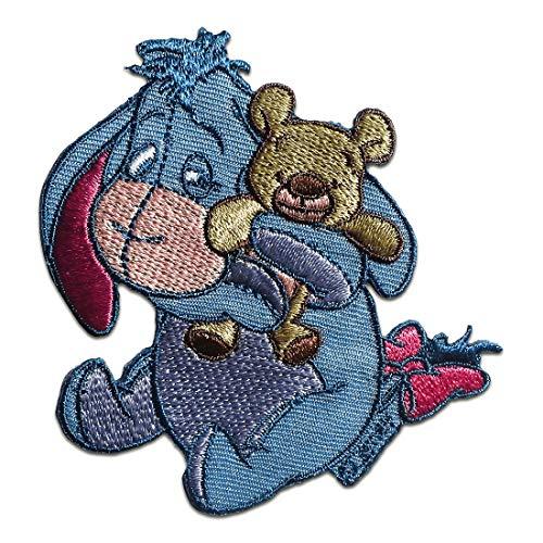 Aufnäher/Bügelbild - Winnie Puuh Esel I-Aah mit Teddy Disney Comic Kinder - blau - 7,9x7,5cm - Patch Aufbügler Applikationen zum aufbügeln Applikation Patches Flicken