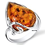 Baltic Amber Large Tear Drop Ring Sterling Silver Cognac Color Size 7