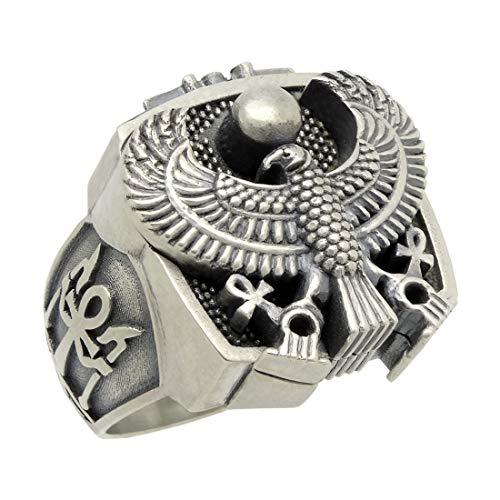 Herren-Ring, ägyptisches Adlerauge des Horus Falcon Sterling-Silber 925, handgefertigt - 61 (19.4)