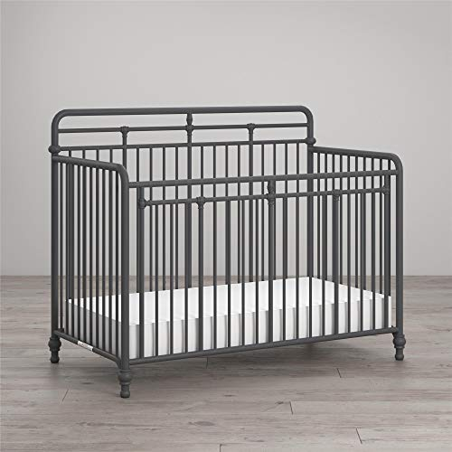 Little Seeds Monarch Hill Hawken 3 in 1 Convertible Metal Crib, Graphite Grey