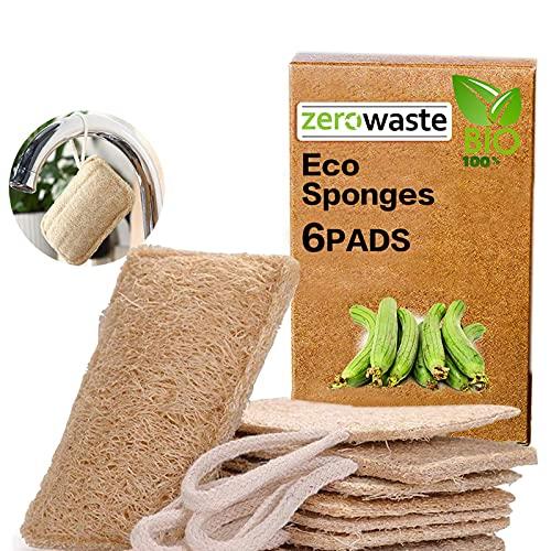Esponjas de luffa, Esponjas orgánicas Naturales para Lavar Platos Paquete de 6,Exfoliante de lufa orgánica Fabricado de...