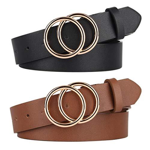 Pack de 2 cinturones de mujer para jeans con hebilla de doble anilla en O y piel sintética - - M:cintura 76/89 cm