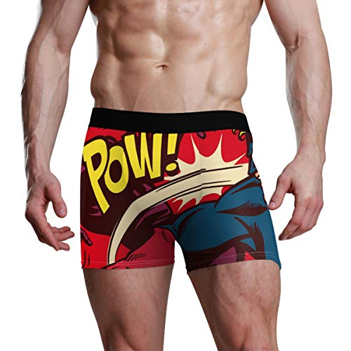 SUABO Father's Gifts Boxer Briefs 1 Pack Men Underwear Polyester Briefs with Comics Superhero Pattern M