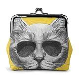 Ritratto disegnato a mano di gatto con occhiali da sole in pelle classica floreale portamonete pochette pochette portafoglio per donna personalizzata