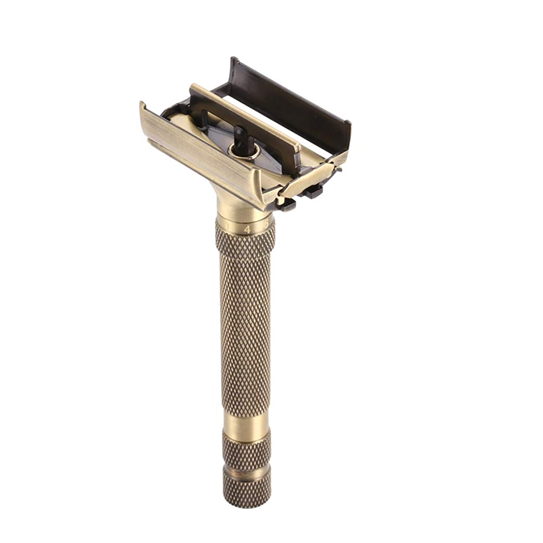 バスケットボールアラバマ染色クラシックダブルエッジカミソリ真鍮両面手動かみそり ブレード露出調整可能 ダブルエッジ 安全レイザー 替刃5個付