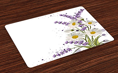 Lunarable Lavender Place Mats Set of 4, Vivid Bouquet with Daisies Color Slashes Scenic Modern, Washable Fabric Placemats for Dining Room Kitchen Table Decor, Green Marigold